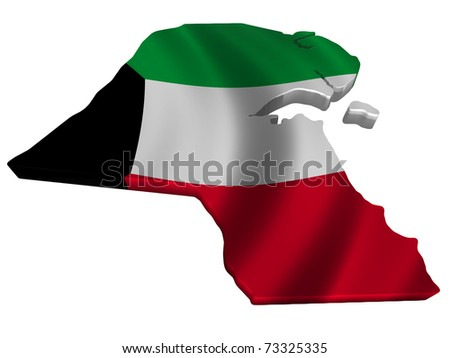 Flag and map of Kuwait - stock photo