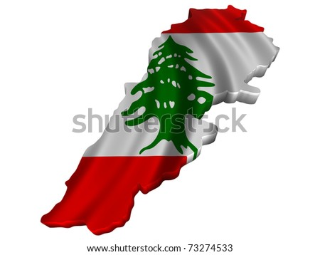 Flag and map of Lebanon - stock photo
