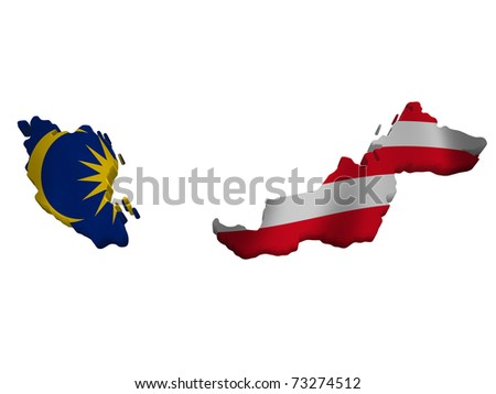 Flag and map of Malaysia - stock photo