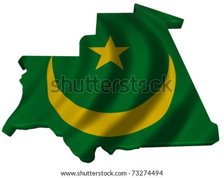 Flag and map of Mauritania - stock photo