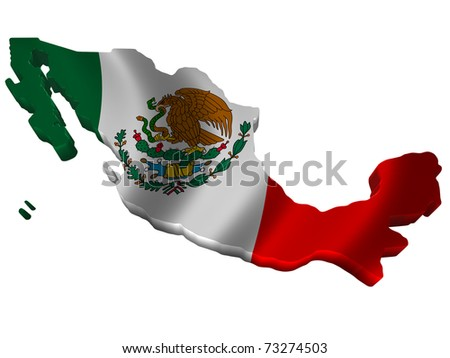 Flag and map of Mexico - stock photo