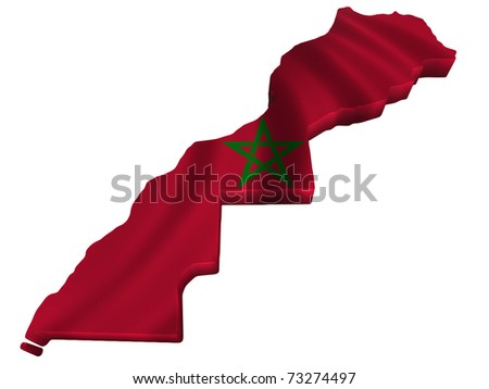 Flag and map of Morocco - stock photo