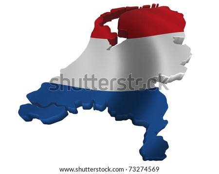 Flag and map of Netherlands - stock photo