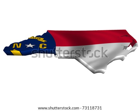 Flag and map of North Carolina - stock photo