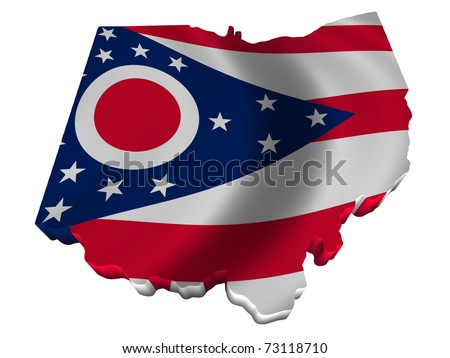 Flag and map of Ohio - stock photo