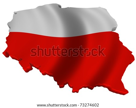 Flag and map of Poland - stock photo