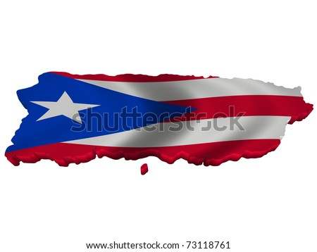 Flag and map of Puerto Rico - stock photo