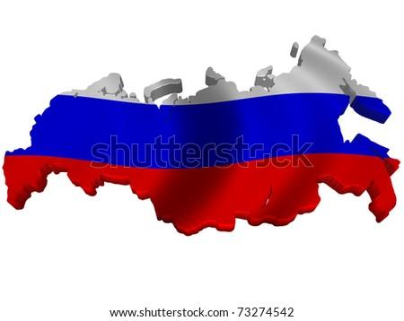 Flag and map of Russia - stock photo