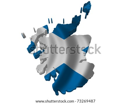 Flag and map of Scotland - stock photo