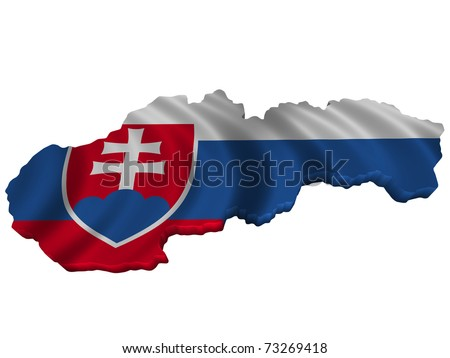 Flag and map of Slovakia