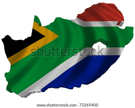 Flag and map of South Africa - stock photo