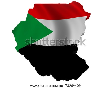 Flag and map of Sudan - stock photo