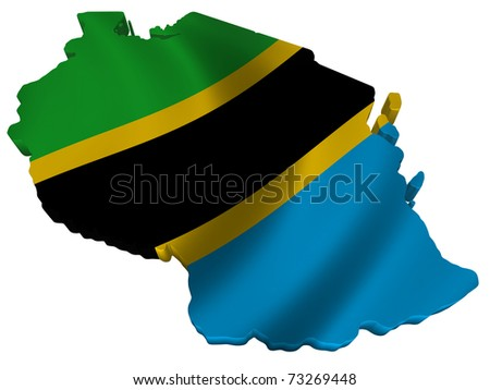 Flag and map of Tanzania - stock photo