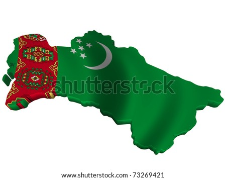 Flag and map of Turkmenistan - stock photo