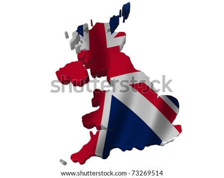 Flag and map of United Kingdom - stock photo