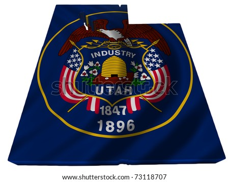 Flag and map of Utah - stock photo