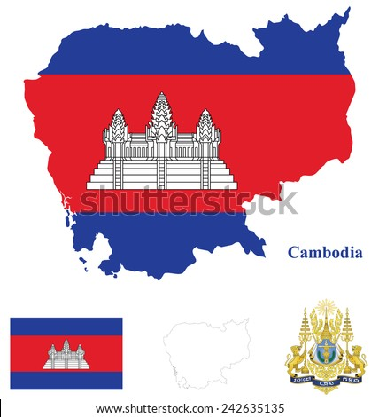 Flag and national coat of arms of the Kingdom of Cambodia overlaid on detailed outline country map isolated on white background motto translation Nation Religion King - stock photo
