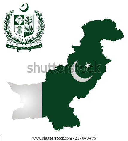 Flag and national emblem of the Islamic Republic of Pakistan overlaid on outline map isolated on white background text translation Faith Unity Discipline  - stock photo