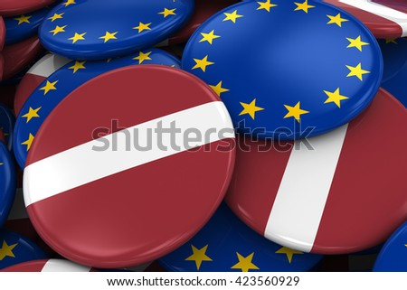 Flag Badges of Latvia and Europe in Pile - Concept image for Latvian and European Relations - 3D Illustration