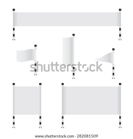 Flag banner collection set - stock photo