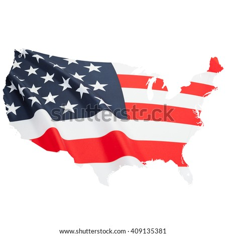 Flag blowing in the wind. Part of border alike shaped national flag series - USA - stock photo