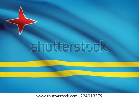 Flag blowing in the wind series - Aruba - stock photo