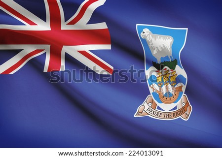 Flag blowing in the wind series - Falkland Islands - stock photo