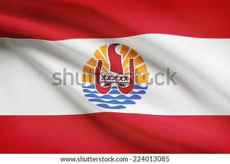 Flag blowing in the wind series - French Polynesia - stock photo