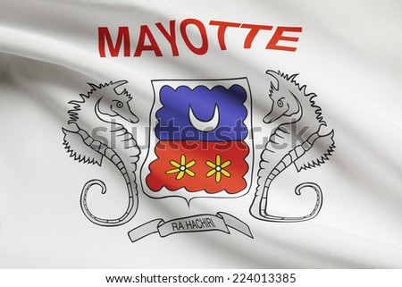 Flag blowing in the wind series - Mayotte - stock photo