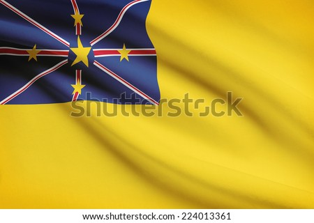 Flag blowing in the wind series - Niue - stock photo