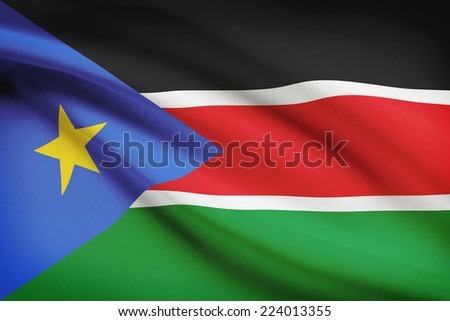 Flag blowing in the wind series - South Sudan - stock photo
