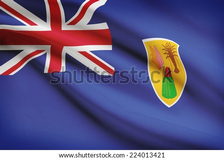 Flag blowing in the wind series - Turks and Caicos Islands - stock photo