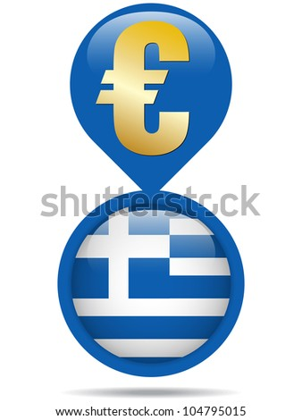 Flag Button Greece Euro Crisis - stock photo