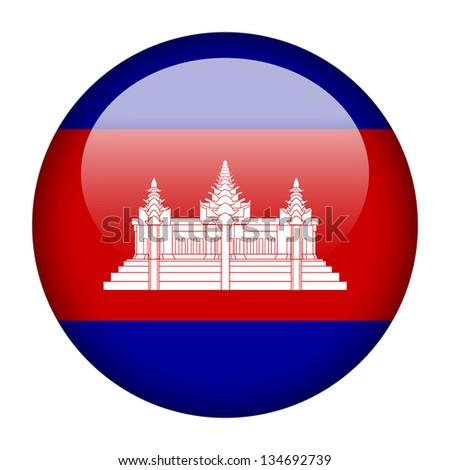 Flag button illustration - Cambodia - stock photo