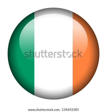 Flag button illustration - Ireland - stock photo