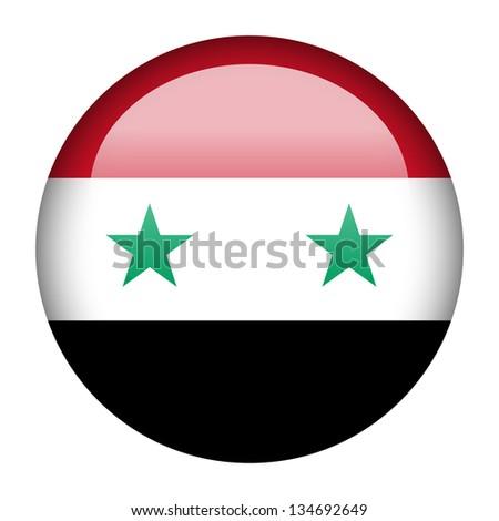 Flag button illustration - Syria - stock photo
