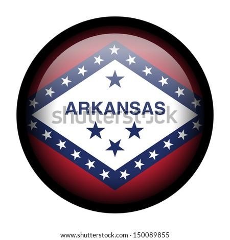 Flag button illustration with black frame - Arkansas - stock photo