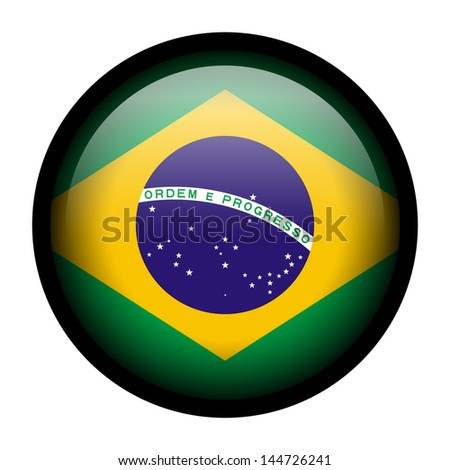 Flag button illustration with black frame - Brazil - stock photo