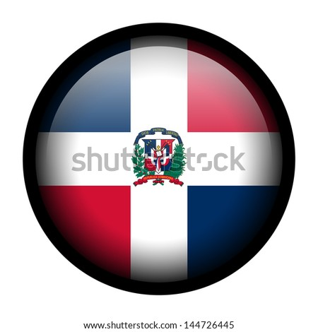 Flag button illustration with black frame - Dominican Republic