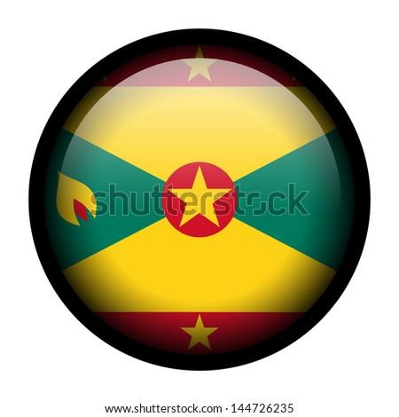 Flag button illustration with black frame - Grenada - stock photo