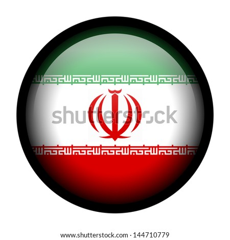 Flag button illustration with black frame - Iran