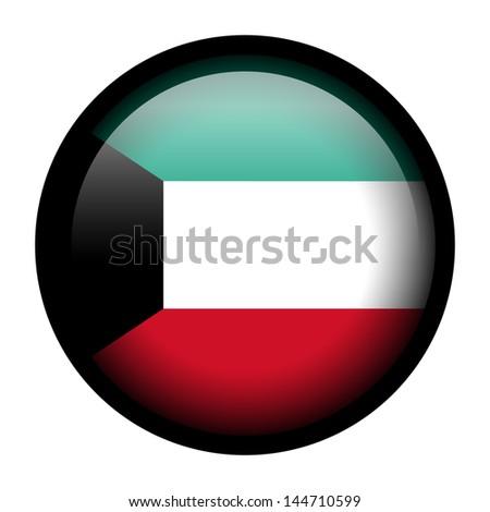 Flag button illustration with black frame - Kuwait - stock photo