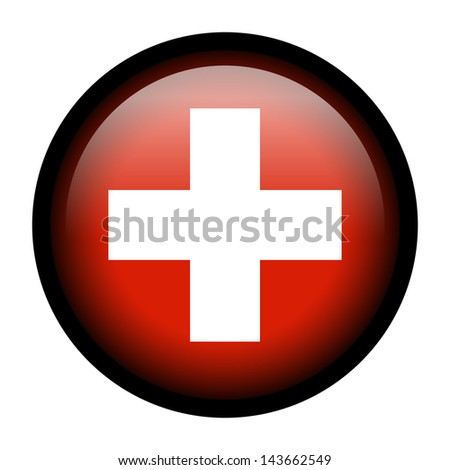 Flag button illustration with black frame - Switzerland