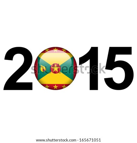 Flag button illustration with year - Grenada - stock photo