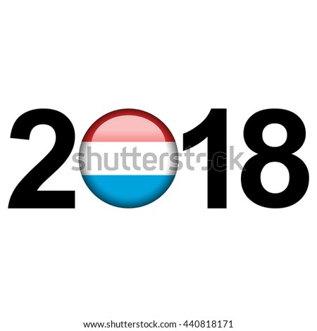 Flag button illustration with year - Luxembourg - stock photo