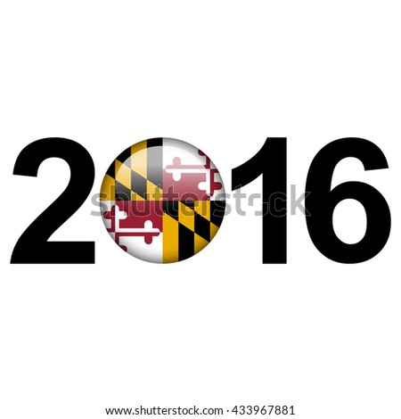 Flag button illustration with year - Maryland - stock photo