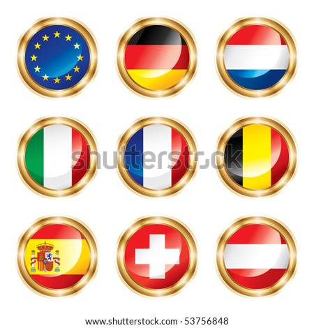 Flag buttons European one. JPEG version. - stock photo