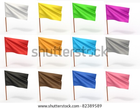 Flag collection on white isolated background. 3d - stock photo