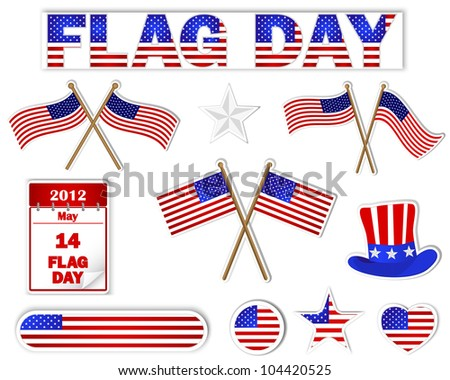 Flag Day. Set of stickers with a picture an American flag. Raster version. - stock photo