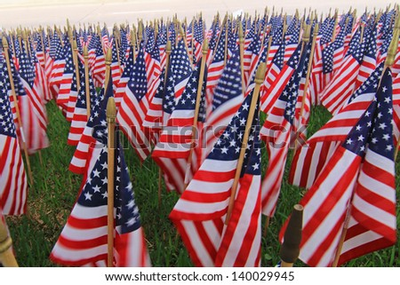 Flag Decorations for an American Holiday - stock photo